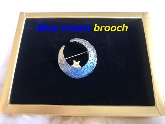 Mysterious Crescent Moon Brooch,gradation,pins,JAPAN