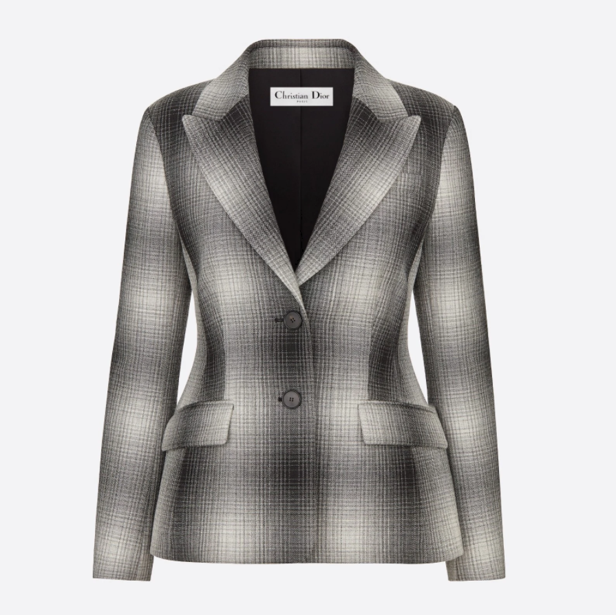 Christian Dior JACKET Gray and White Check Wool 051V19A1284_X8806