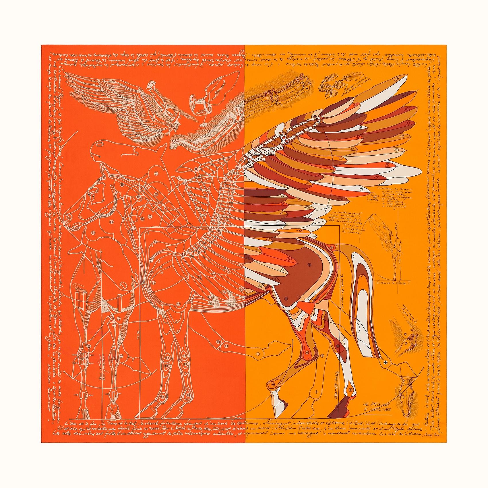 HERMES Le Pegase d'Hermes Cut wash scarf 140 - Orange/Soleil/Brun