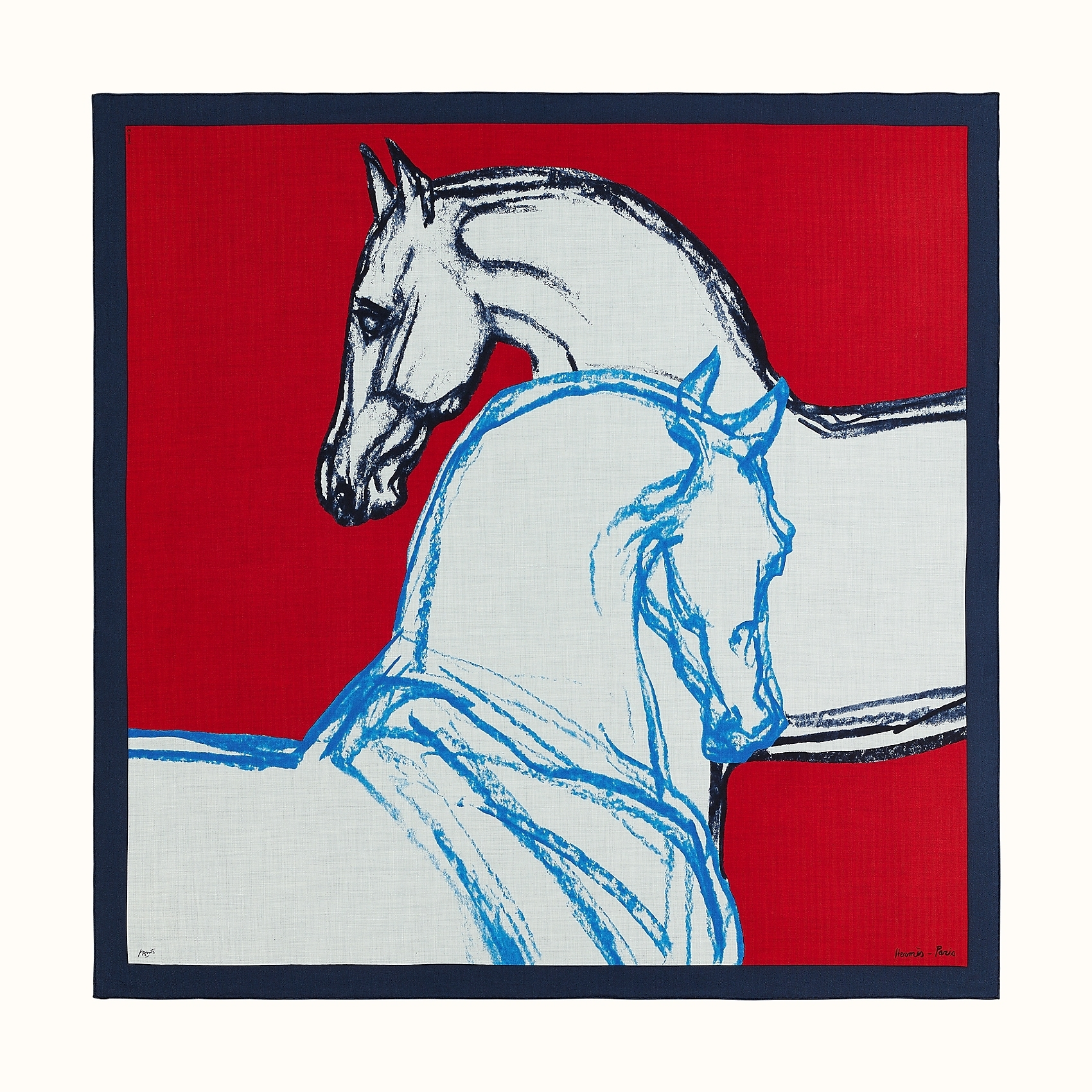 HERMES Chevaux Au Pre shawl 140 - Rouge/Marine/Gris Chiné