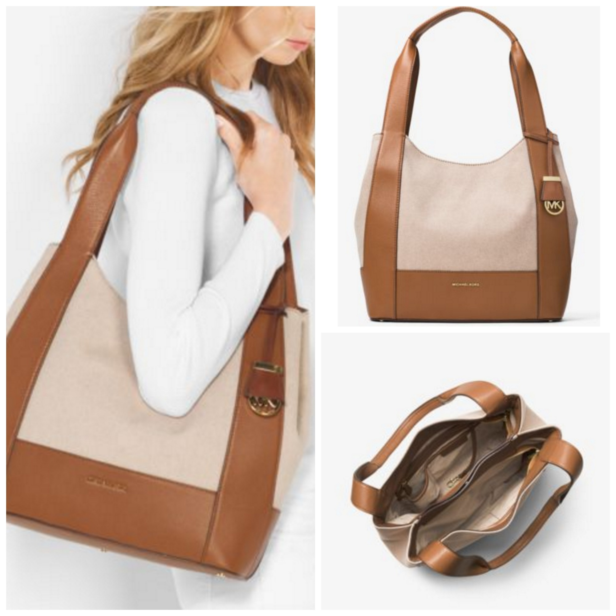 efb09f929a195a Michael Kors MK MICHAEL KORS Marlon Large Canvas & Leather Shoulder Tote by  QueenOfStyle - BUYMA