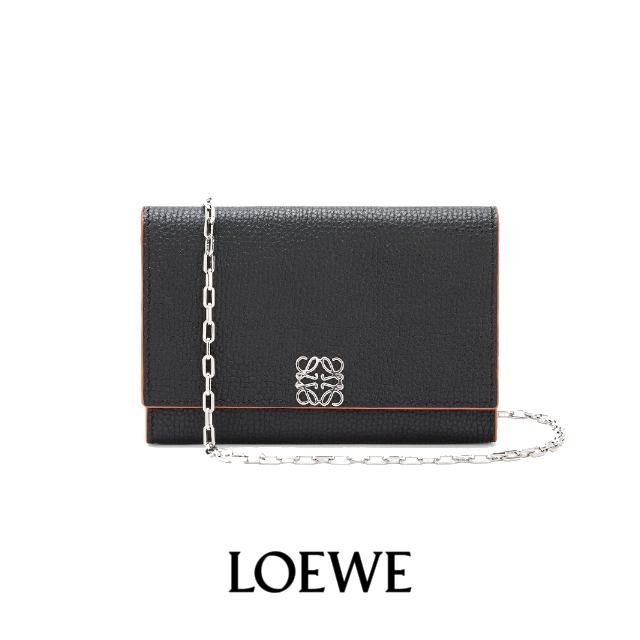 LOEWE Anagram  Anagram wallet on chain in pebble grain calfskin
