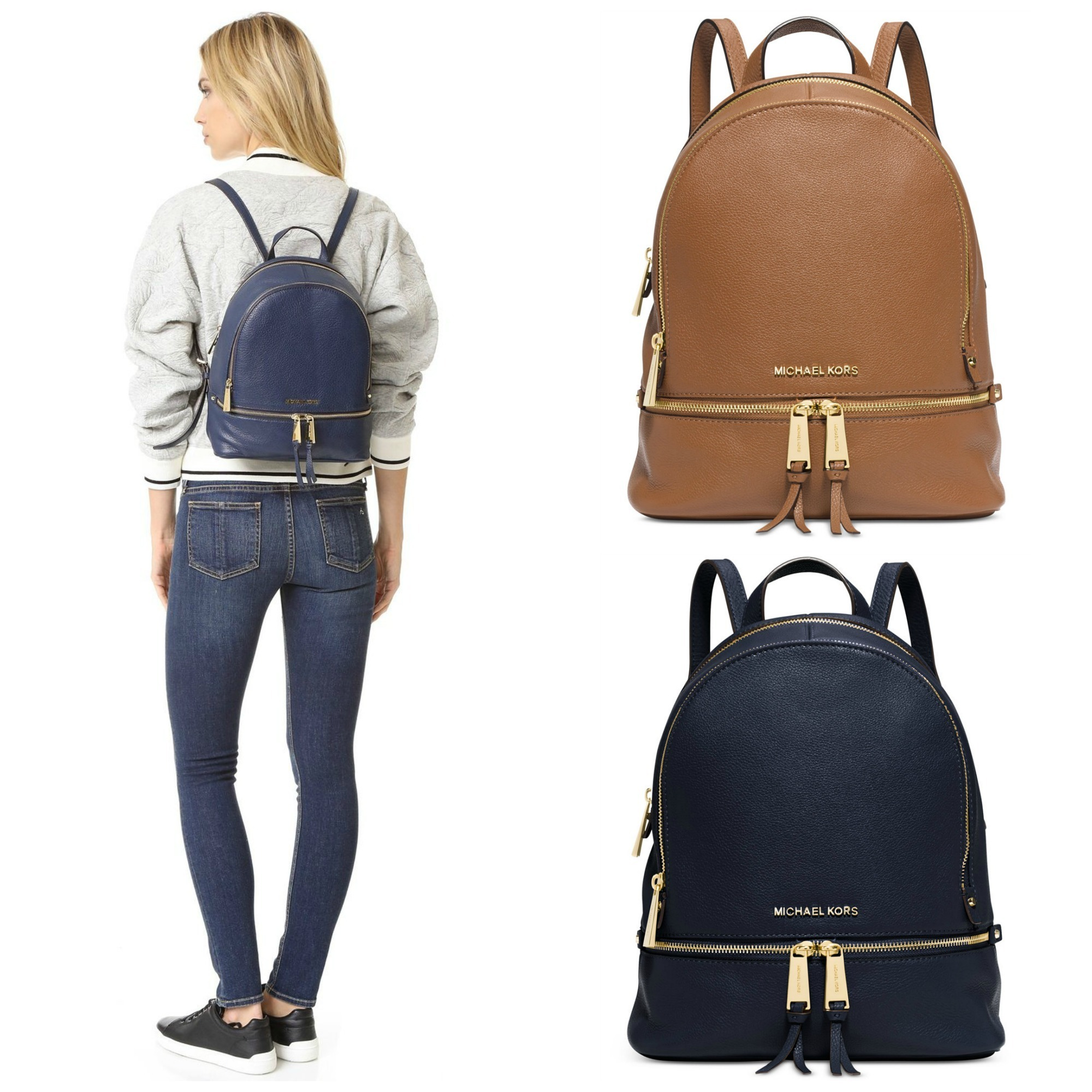 Michael Kors Backpacks MK MICHAEL KORS Rhea Zip Small Leather Backpack