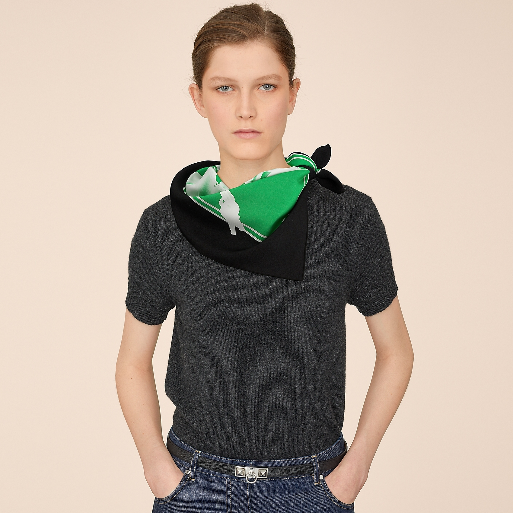 HERMES Please, Check-In scarf 90 - Noir/Émeraude/Blanc