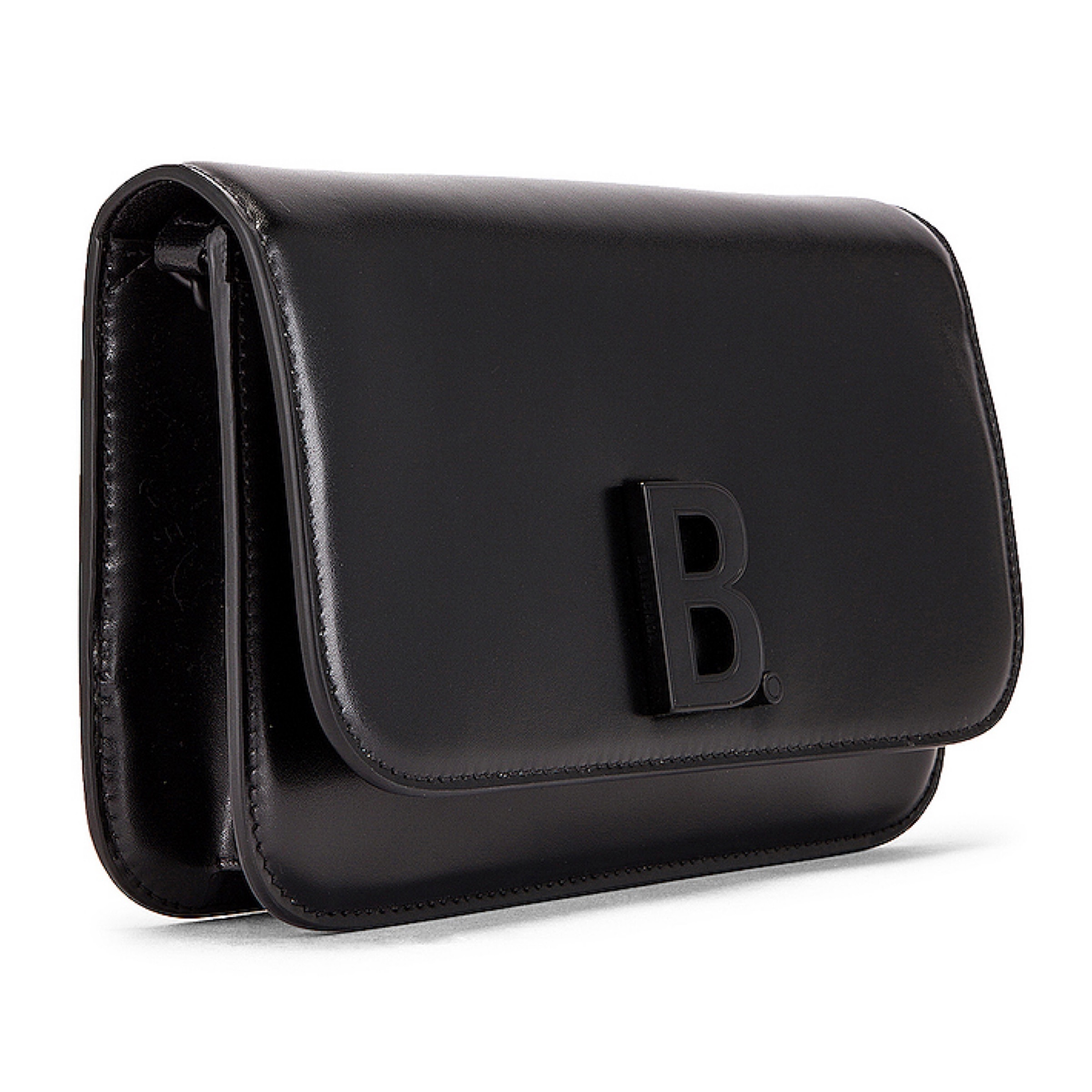 BALENCIAGA NEW Balenciaga Black B Logo Leather Wallet on Chain Bag