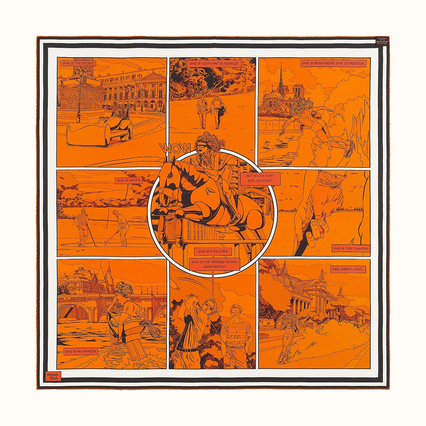 HERMES Wow double face scarf 90 - Orange/Vert/Potiron
