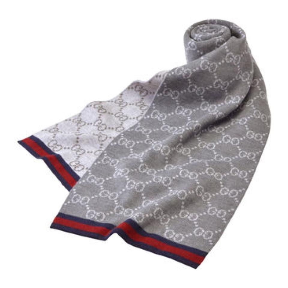 Gucci Gray Wool Reversible GG Guccisima Stripe Scarf Shawl
