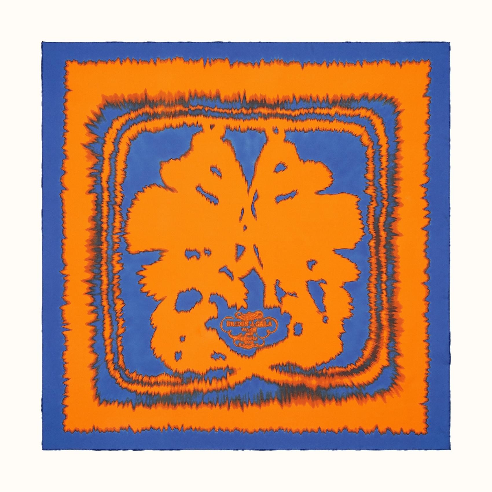 HERMES Brides de Gala wash scarf 90 - Bleu Royal/Orange