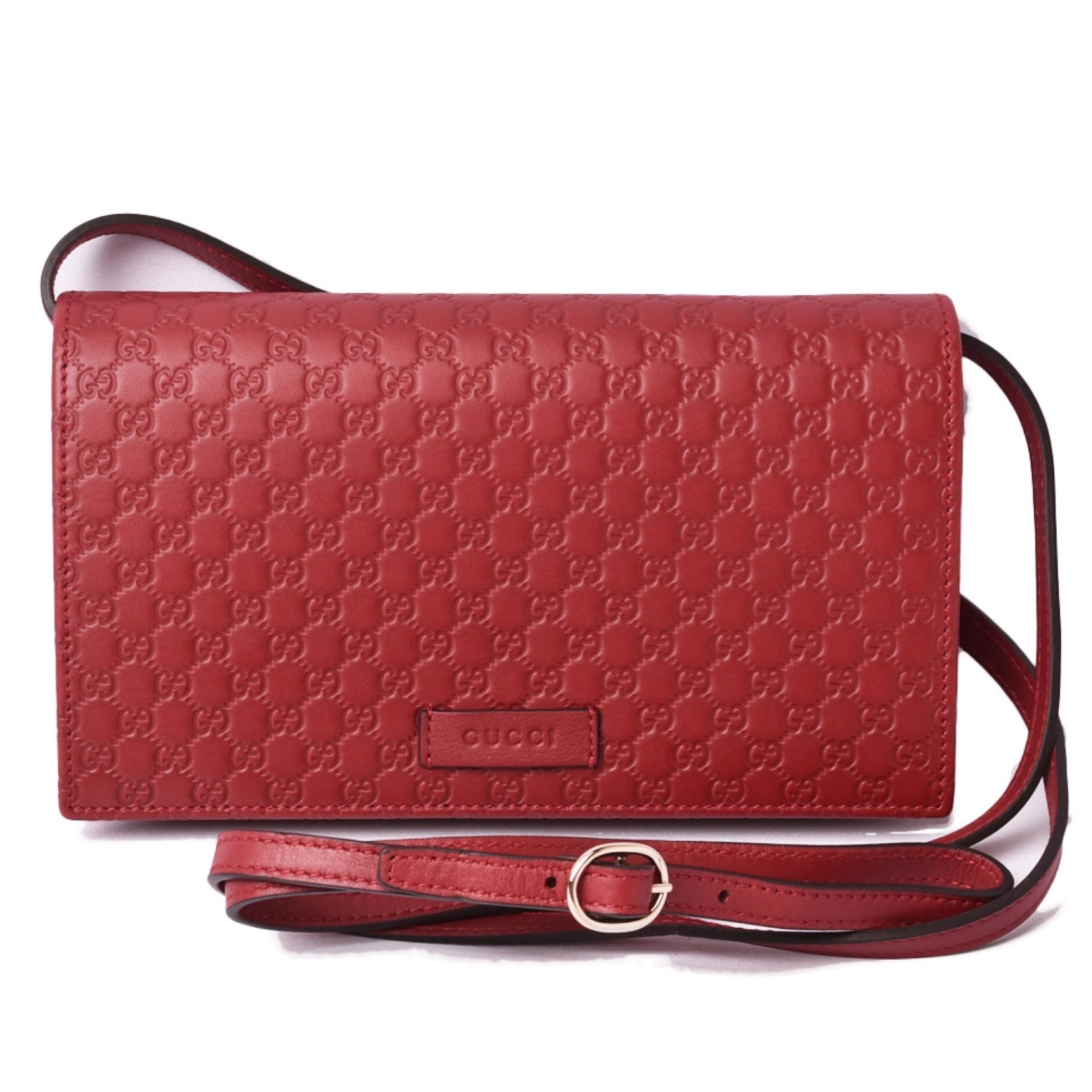 GUCCI NEW Gucci Red Leather Micro GG Guccissima Wallet Bag