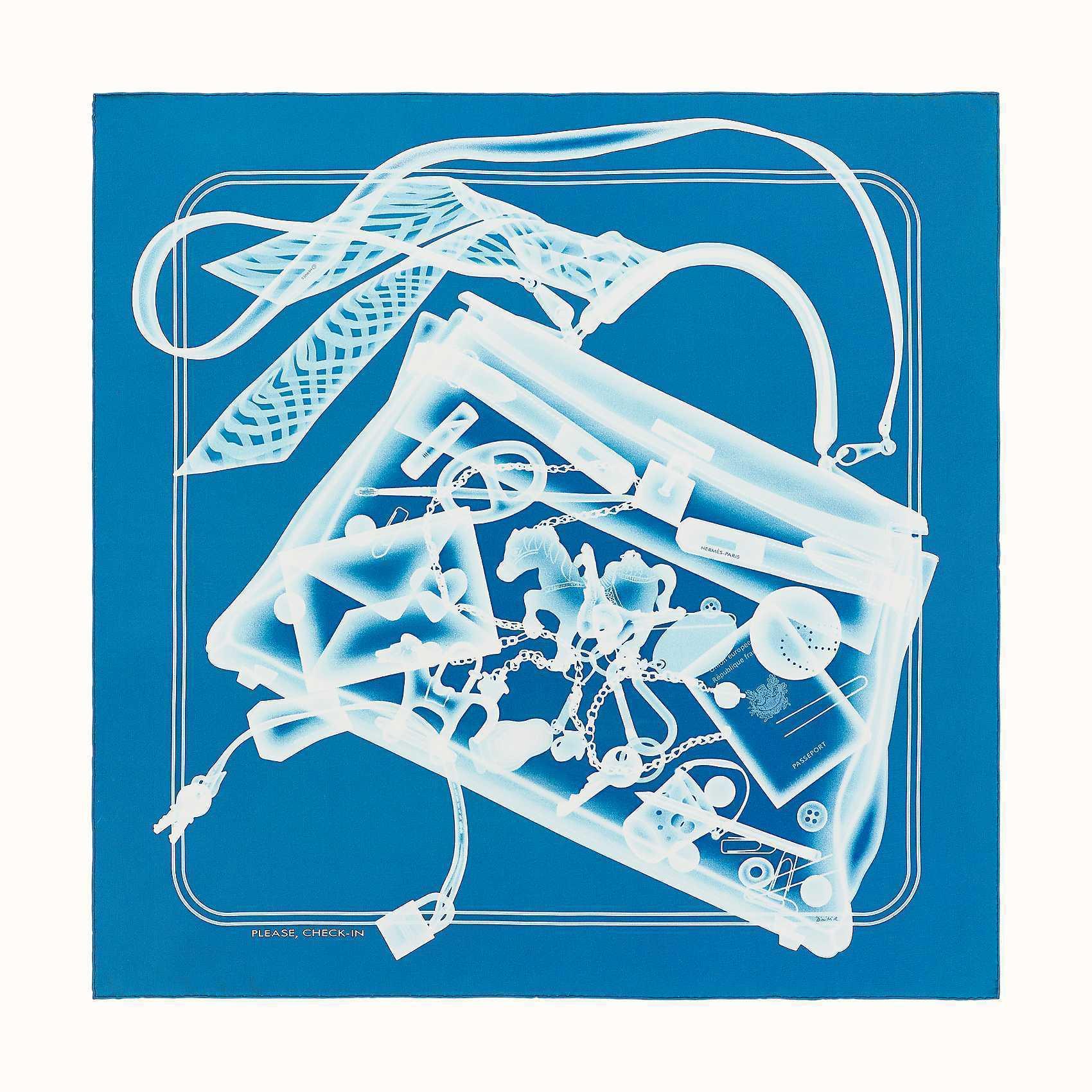HERMES Please, Check-In scarf 90 - Bleu Moyen/Ciel/Blanc