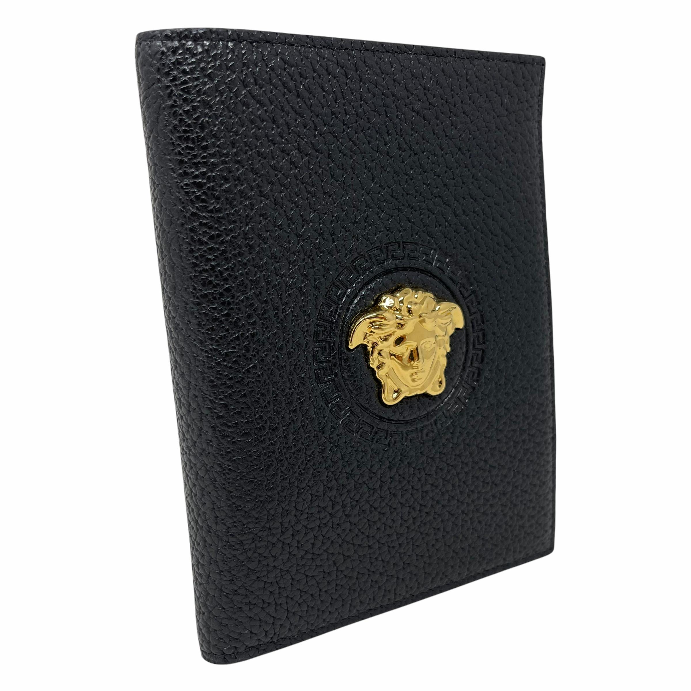 VERSACE NEW Versace Black Medusa Head Leather Passport Holder