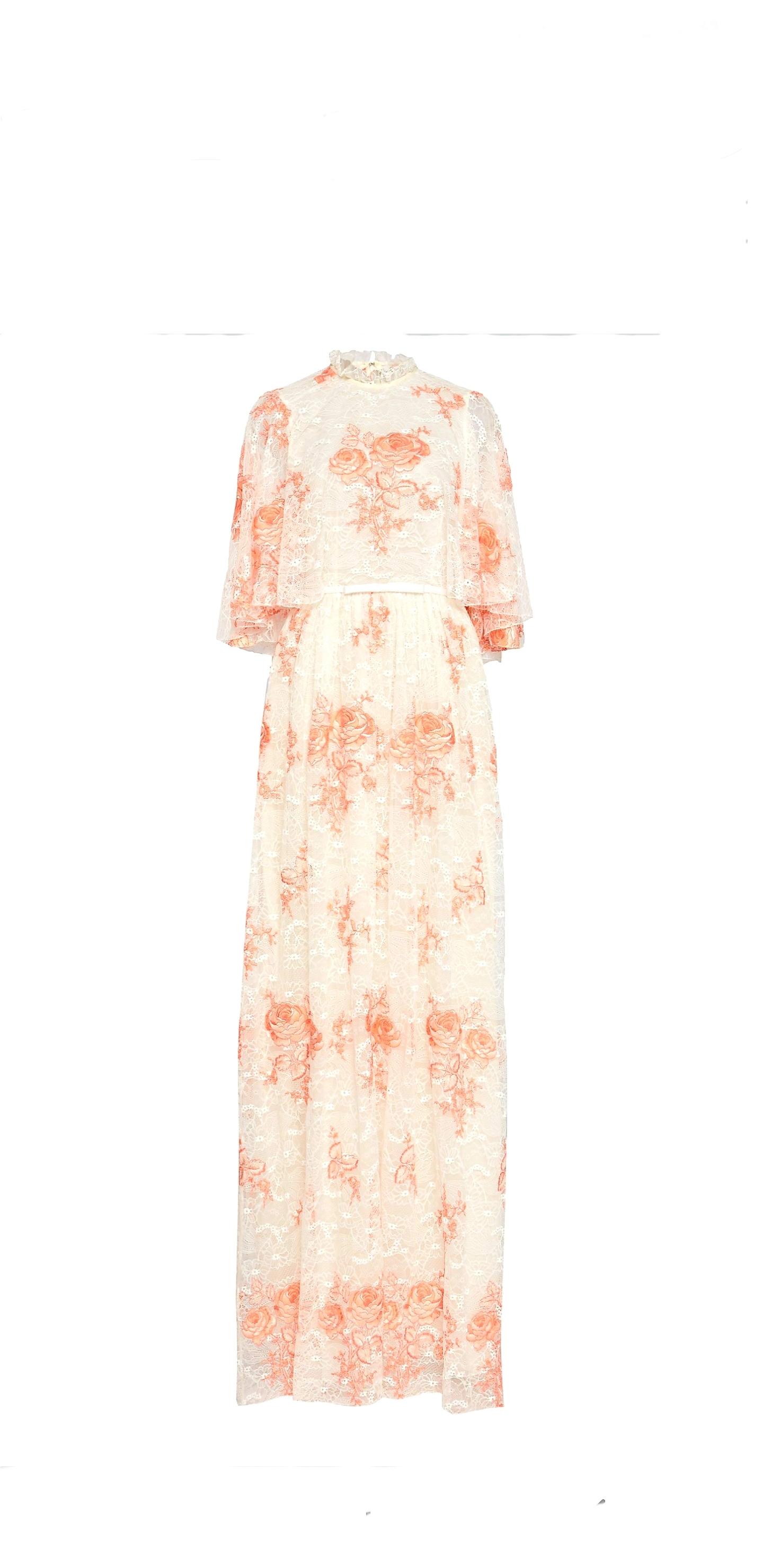 Giambattista Valli Cape-Effect Floral-Lace Gown