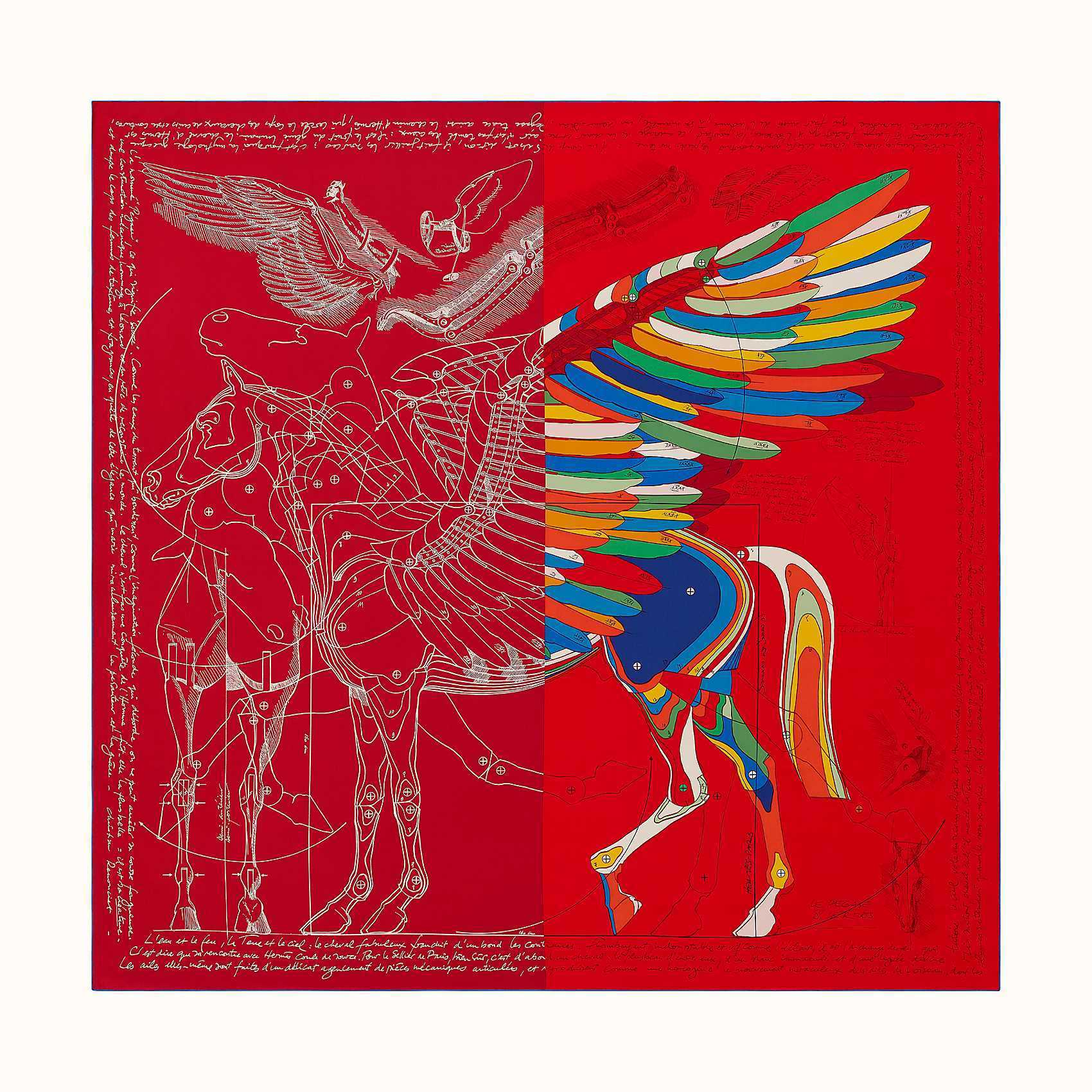 HERMES Le Pegase d'Hermes Cut wash scarf 140 - Rouge/Vert/Multicolo