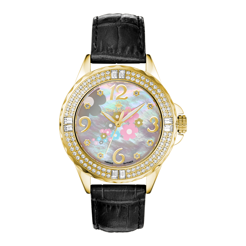 La Fleur with Leather Strap | Crystal On Bezel | 50104RM4
