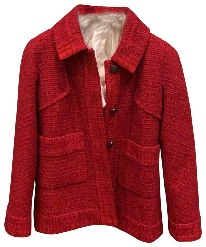 CHANEL Red 18b Fantasy Tweed Coat 36 Blazer