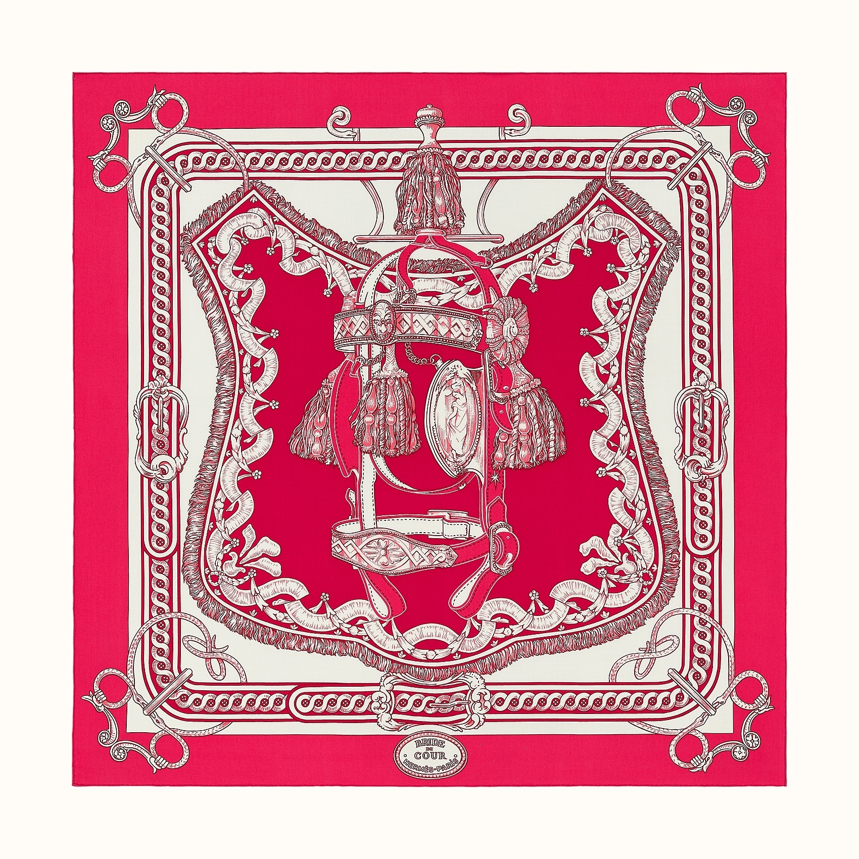 HERMES Bride de Cour Remix shawl 140 - Rose Vif/Fuchsia/Blanc