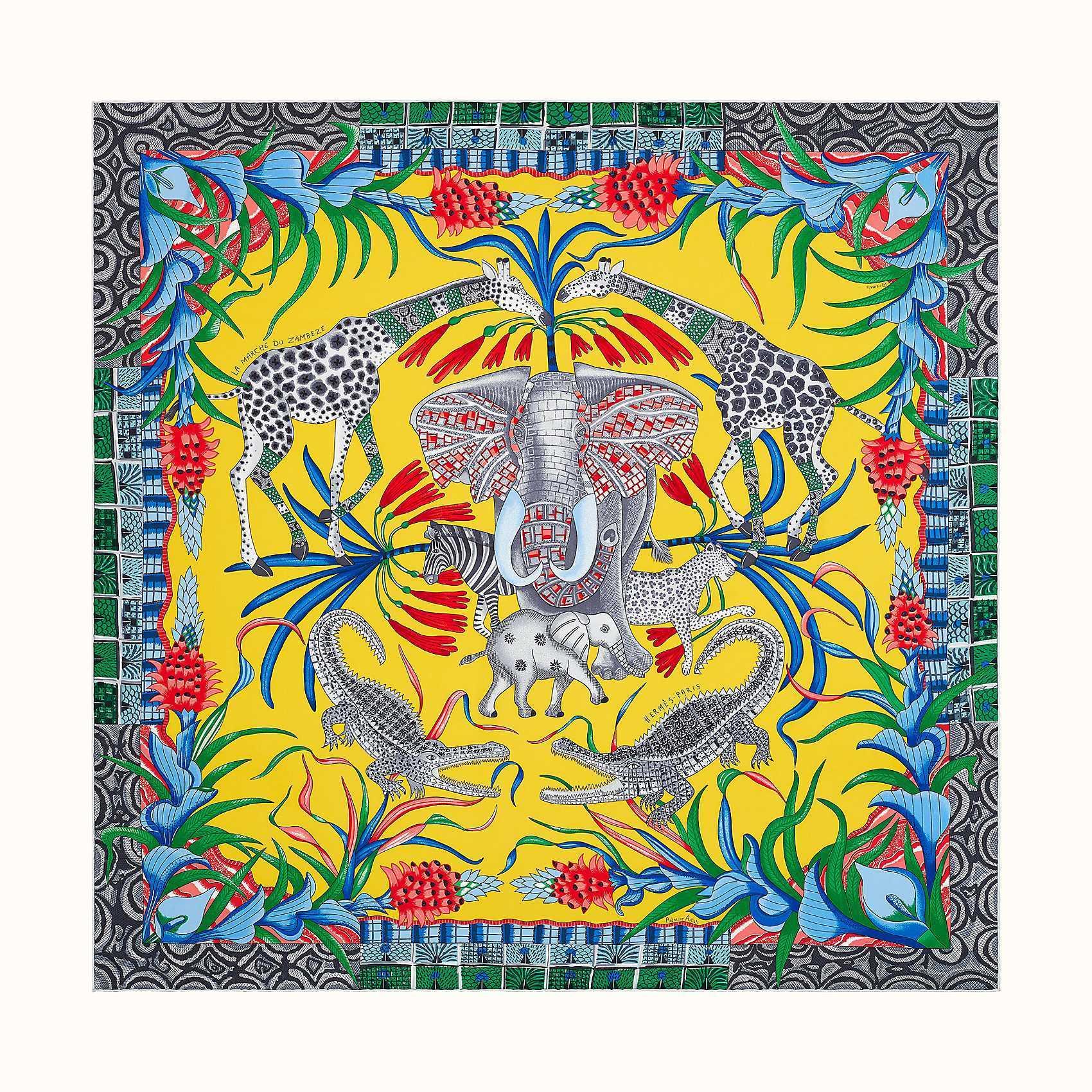 HERMES La Marche du Zambeze scarf 90 - Jaune Vif/Rouge/Bleu