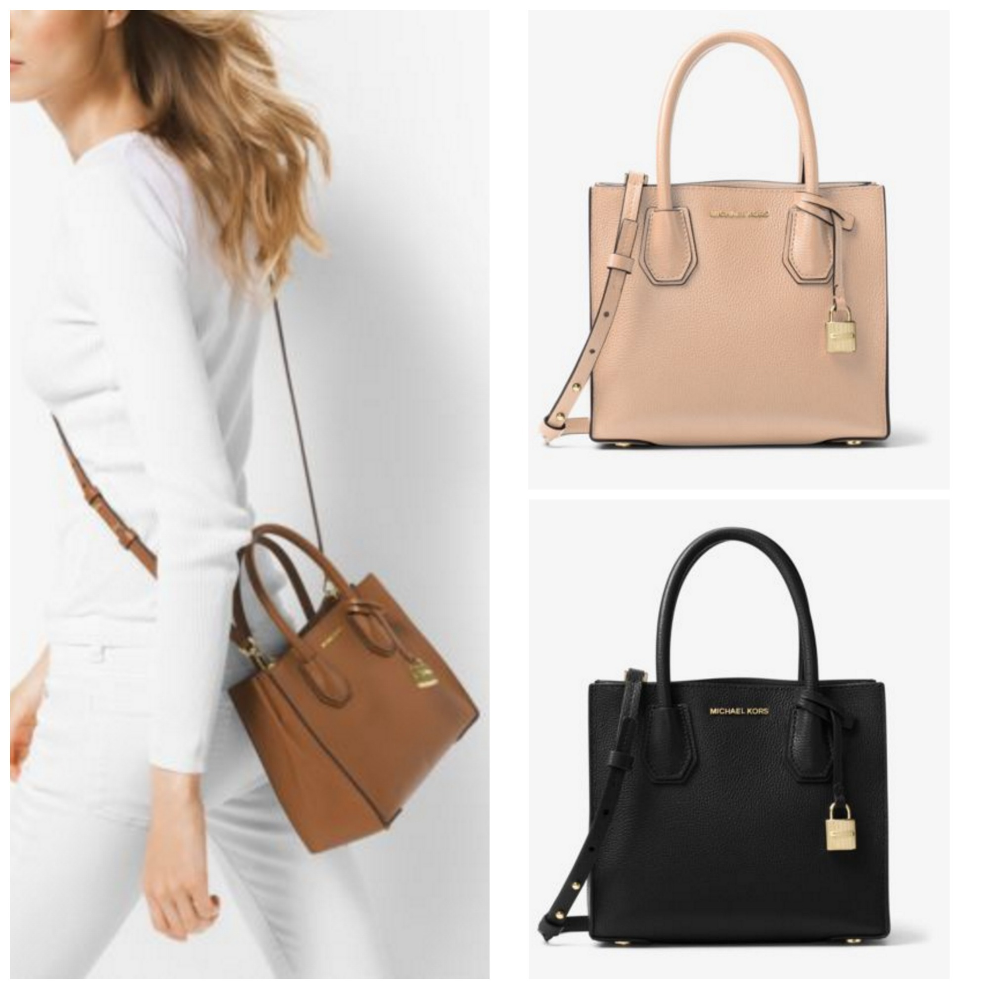 eb870fc7c9fd Michael Kors MK MICHAEL KORS Mercer Medium Bonded-Leather Tote Crossbody by  QueenOfStyle - BUYMA