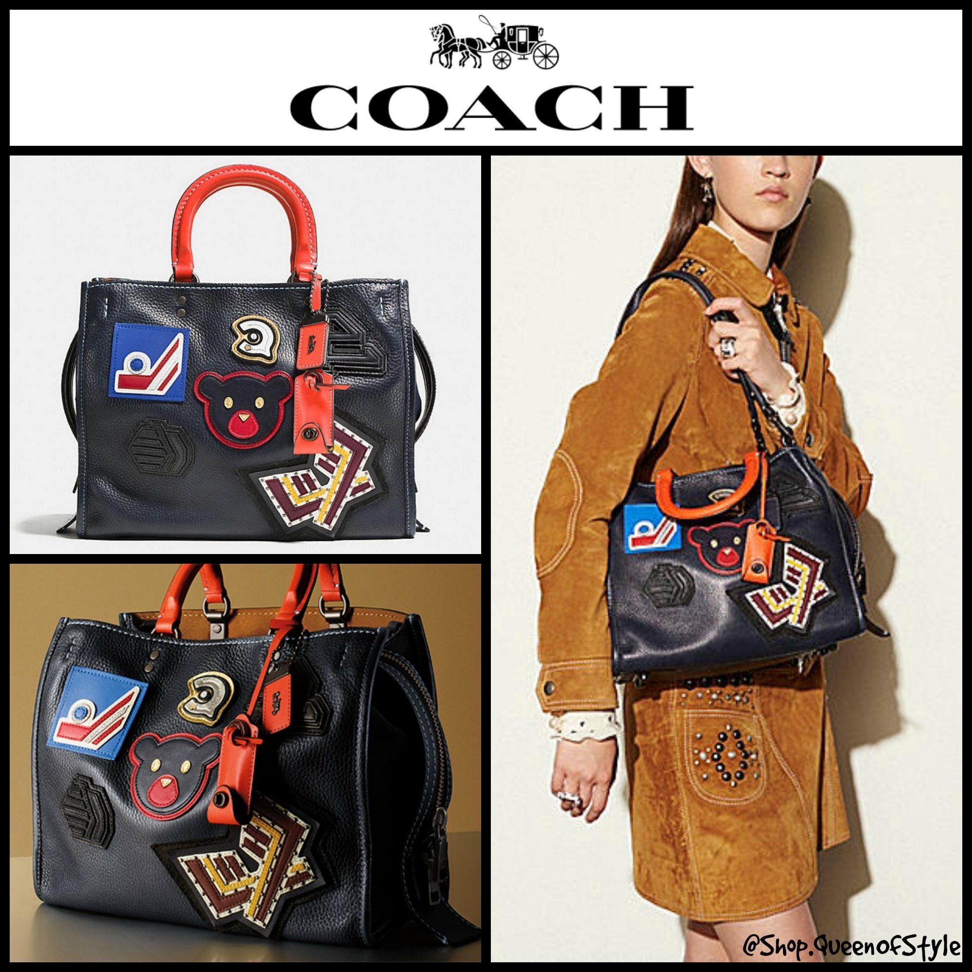 7ff953243a07 Coach Coach 1941 VARSITY Patch Rogue Bag in Pebble Leather 57231 by  QueenOfStyle - BUYMA