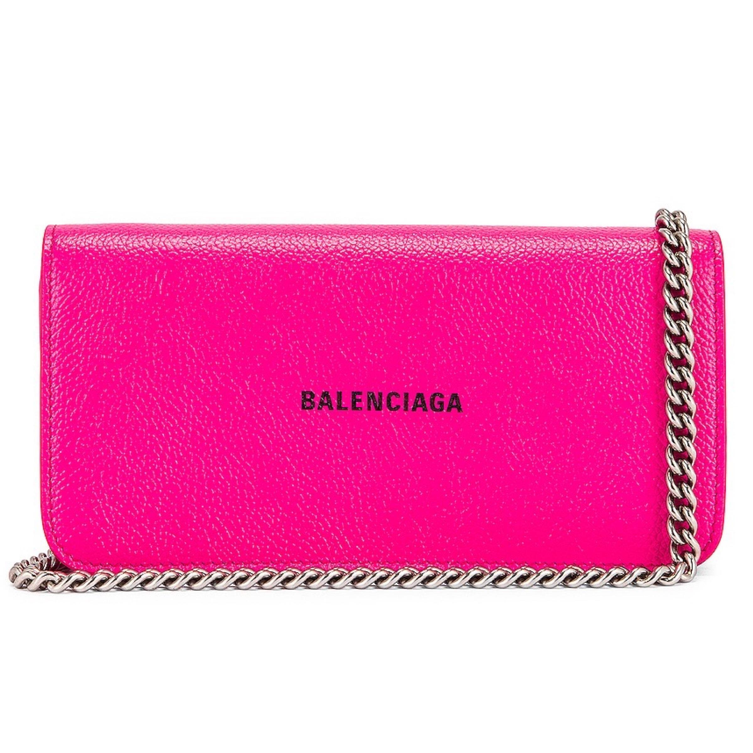BALENCIAGA NEW Balenciaga Pink Cash Continental Chain Bag Crossbody Bag
