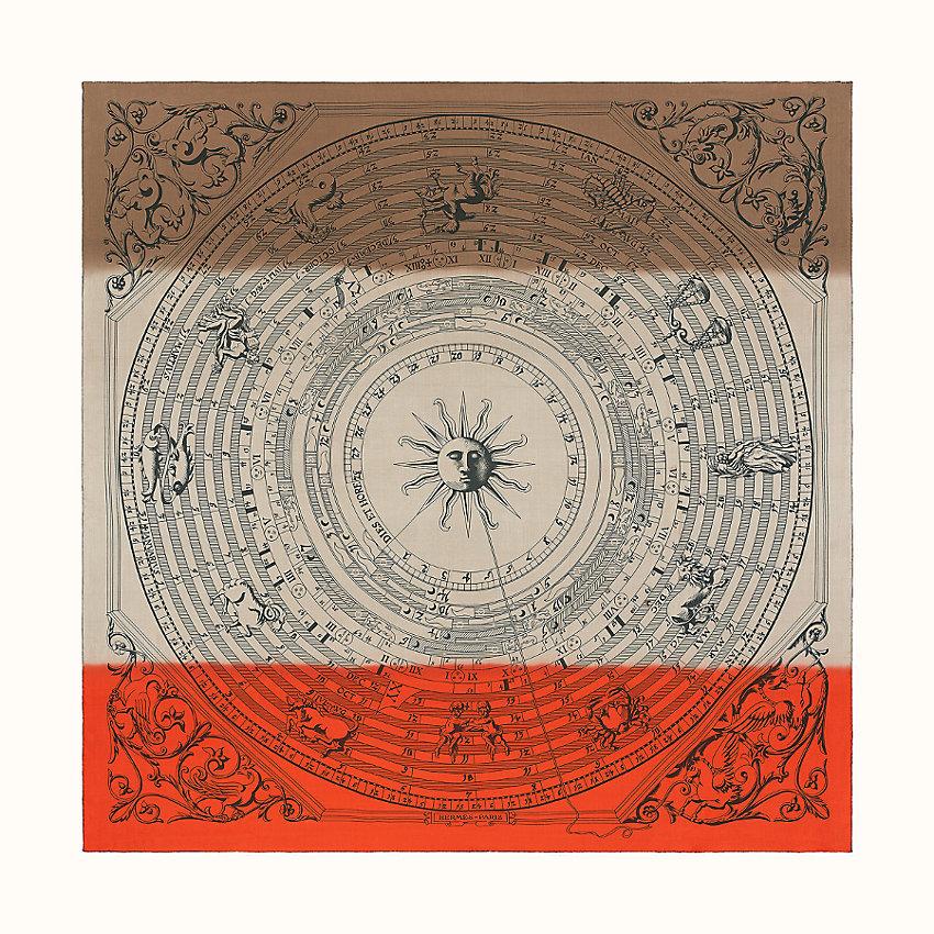 HERMES Astrologie Sunrise silk muslin scarf 140