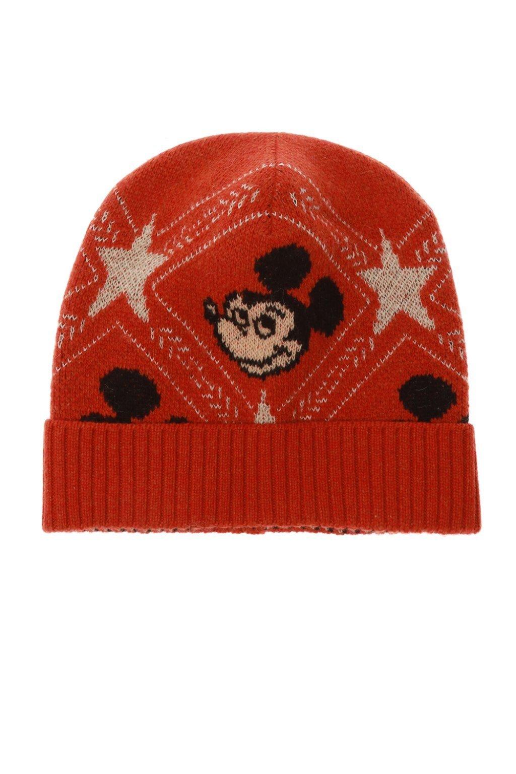 GUCCI Gucci Gucci x Disney Mickey Mouse Knit Hat in Orange