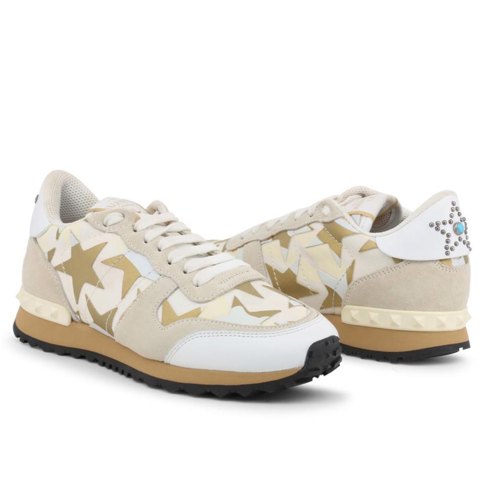 VALENTINO White Brown Star Studded Leather Sneakers