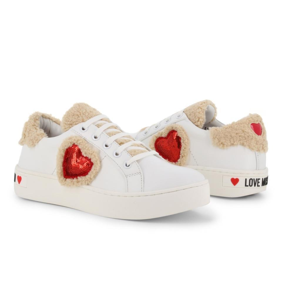 Love Moschino Love Moschino White New Leather Faux Shearling Trim Sneakers