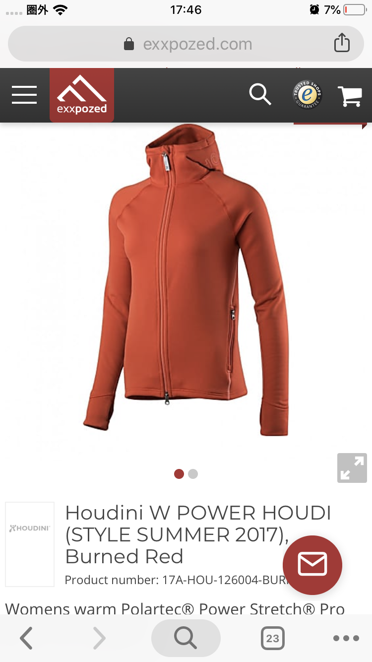 Houdini W's Power Houdi Burned Red Polartec Hooded Fleece