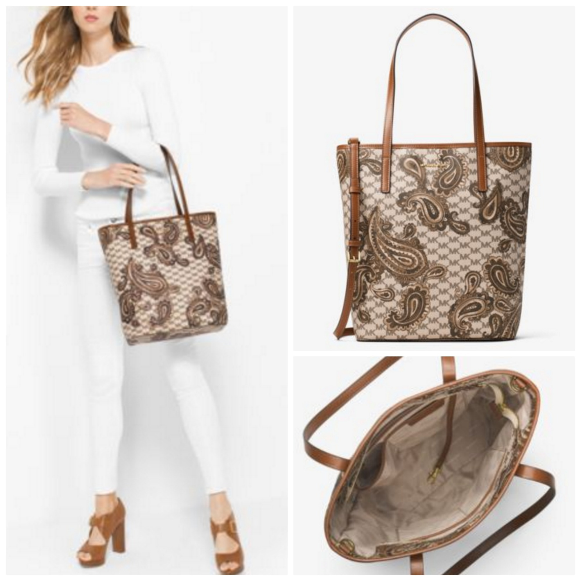 7551cb5c5a30 Michael Kors MK MICHAEL KORS Emry Large North South Heritage Paisley Tote  by QueenOfStyle - BUYMA