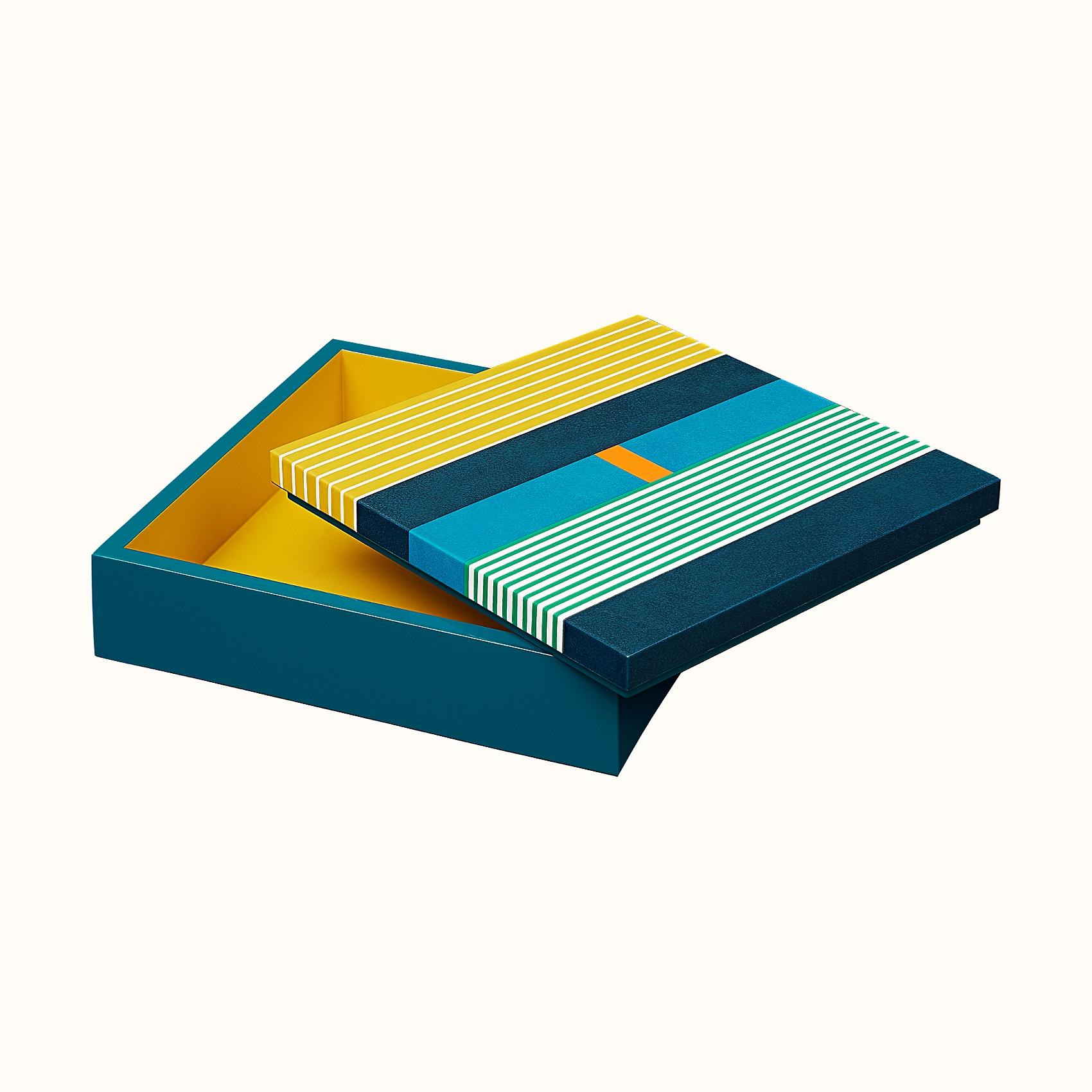 HERMES Theoreme H Vibration box, medium model - Bleu Luzien