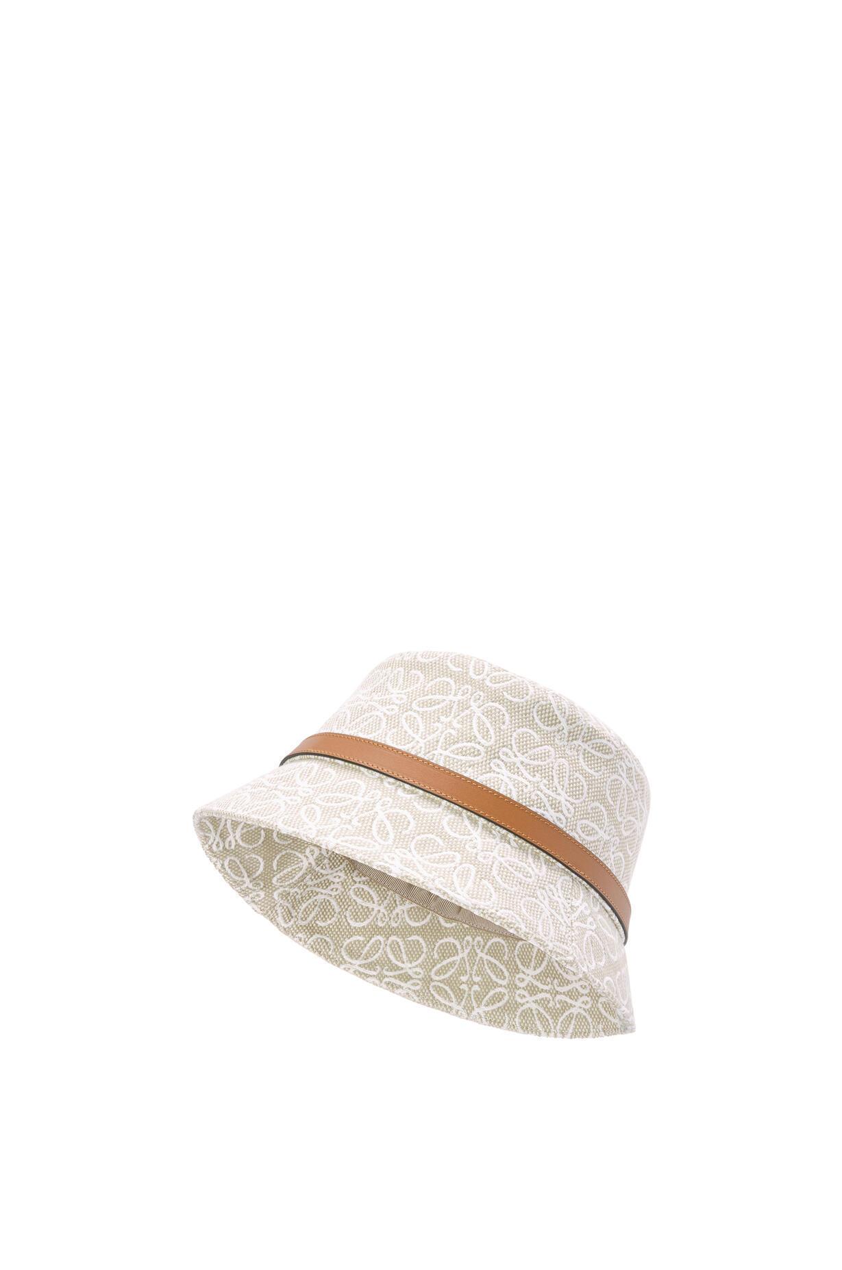 LOEWE LOEWE☆Bucket hat in Anagram jacquard and calfskin☆K820HB1X05