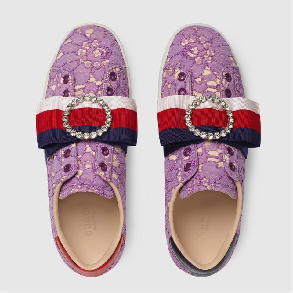 GUCCI Gucci Purple Heel Mesh Buckle Leather Sneakers Casual Flats