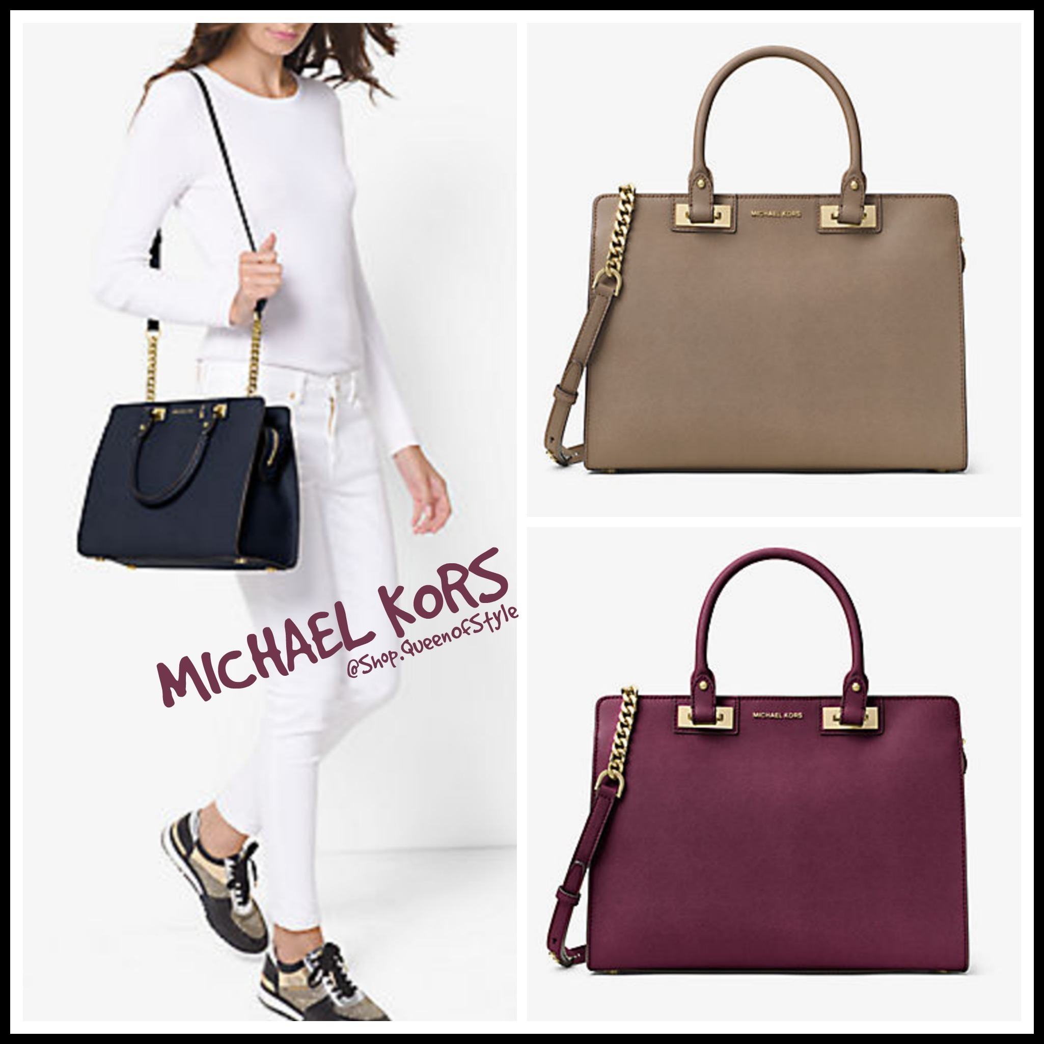 9f6e02a0924820 Michael Kors MK Quinn Large Saffiano Leather Satchel Bag 30H6GQNS3L by  QueenOfStyle - BUYMA