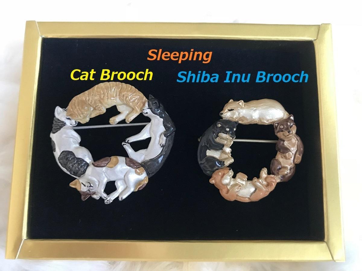 Unique cute sleeping cat brooch,Shiba Inu brooch,for gift