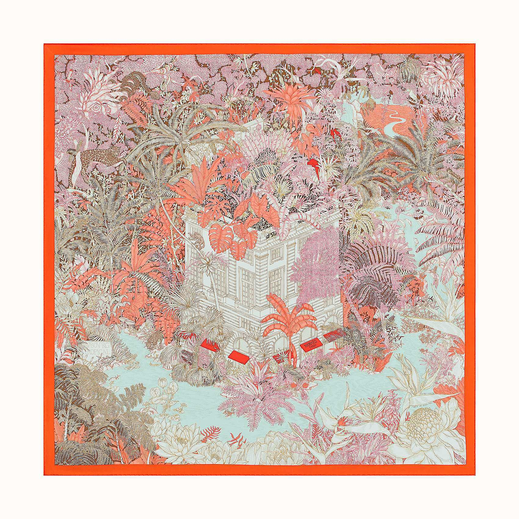 HERMES Faubourg Tropical Scarf 90