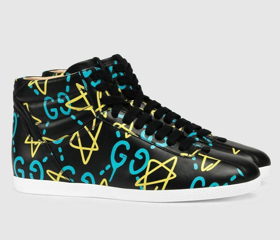GUCCI Gucci Black Graffiti New Top Ghost Print Leather Sneakers