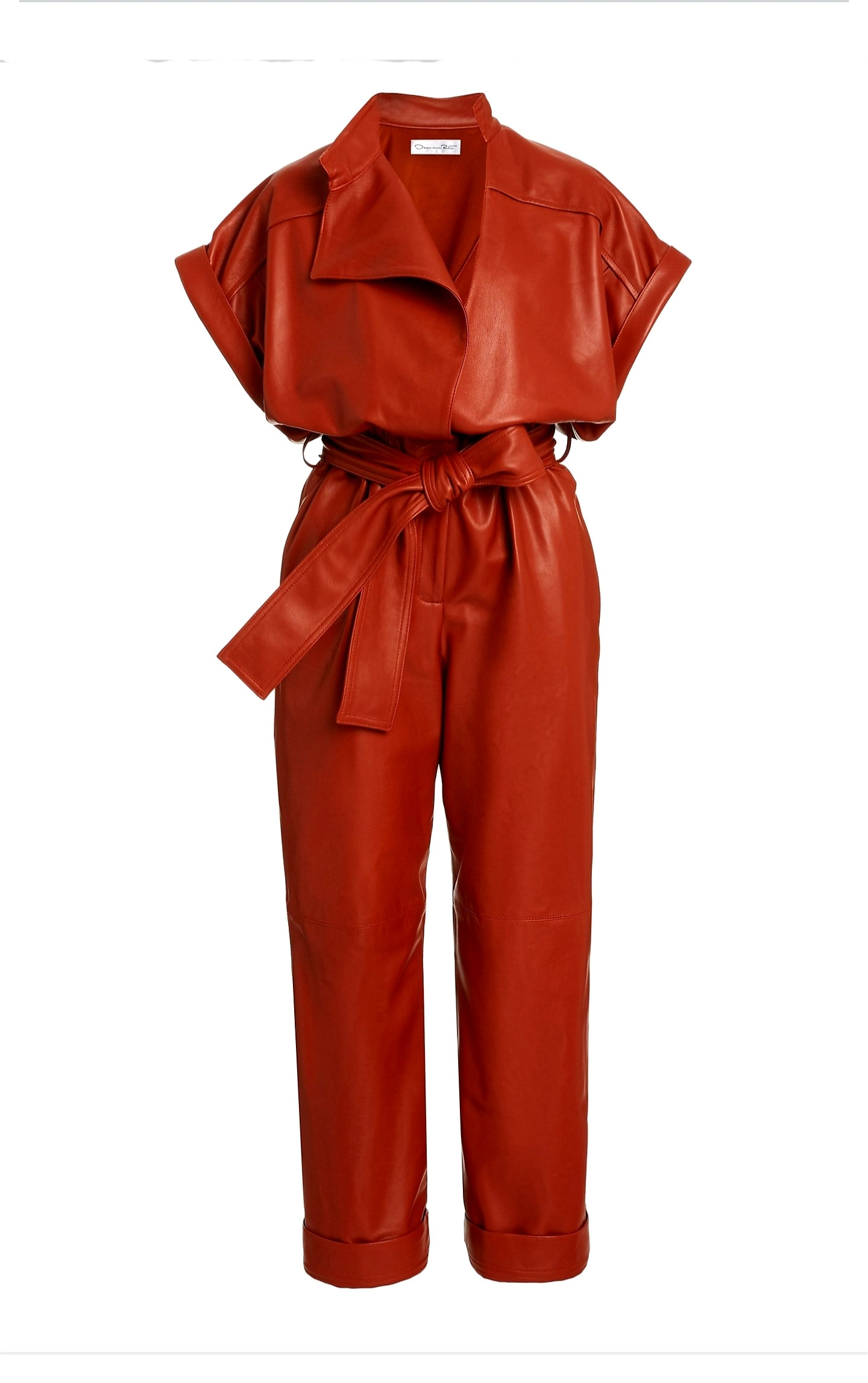 Oscar de la Renta Oscar de la Renta Belted Leather Jumpsuit