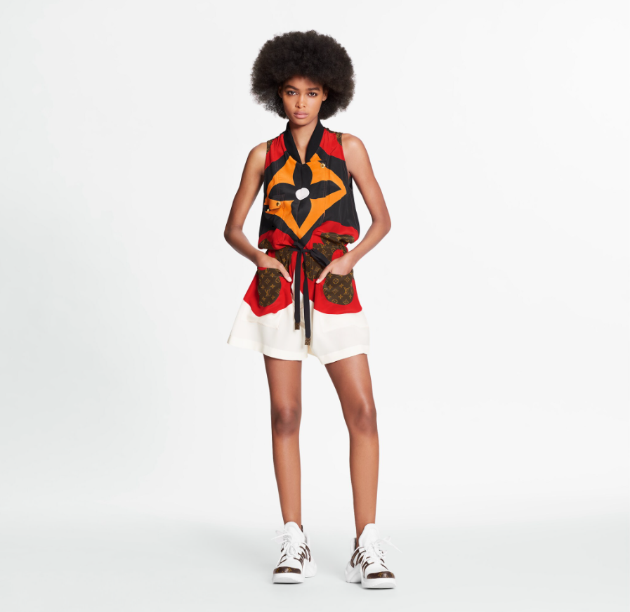 Louis Vuitton LV GAME ON MACRO MONOGRAM FLOWER STATEMENT SHORT JUMPSUIT