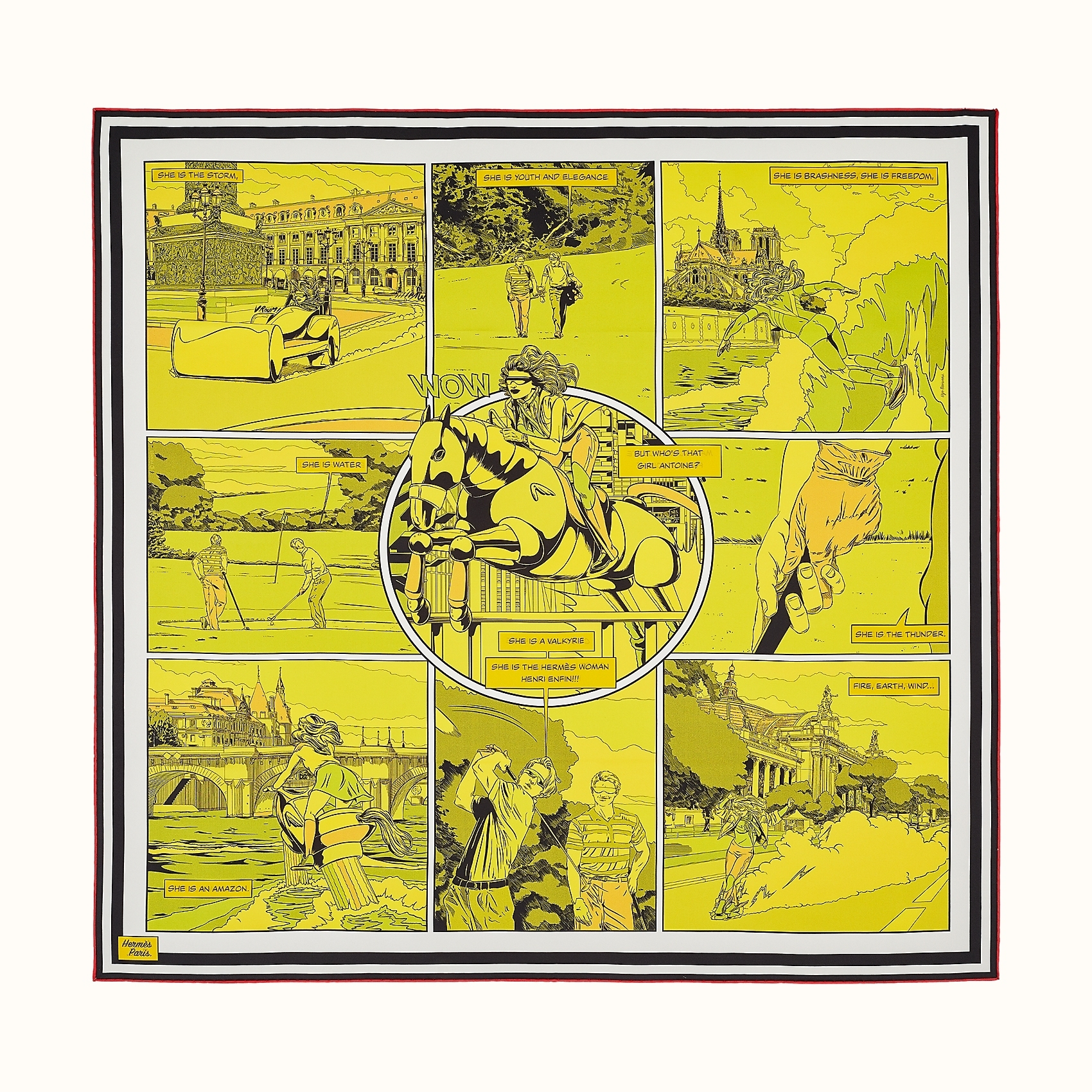 HERMES Wow double face scarf 90 - Jaune/Vert/Multicolore