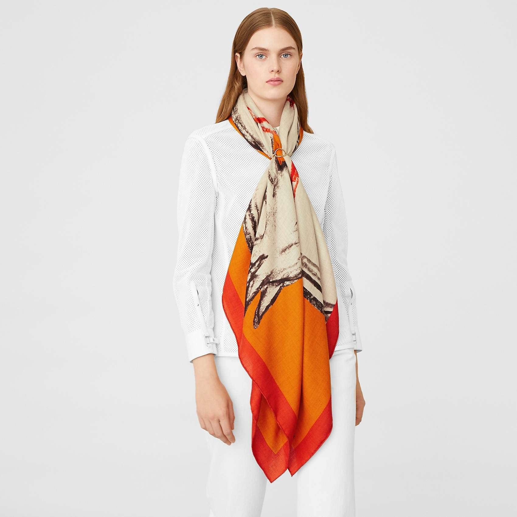 HERMES Chevaux Au Pre shawl 140 - Naturel/Orange/Potiron