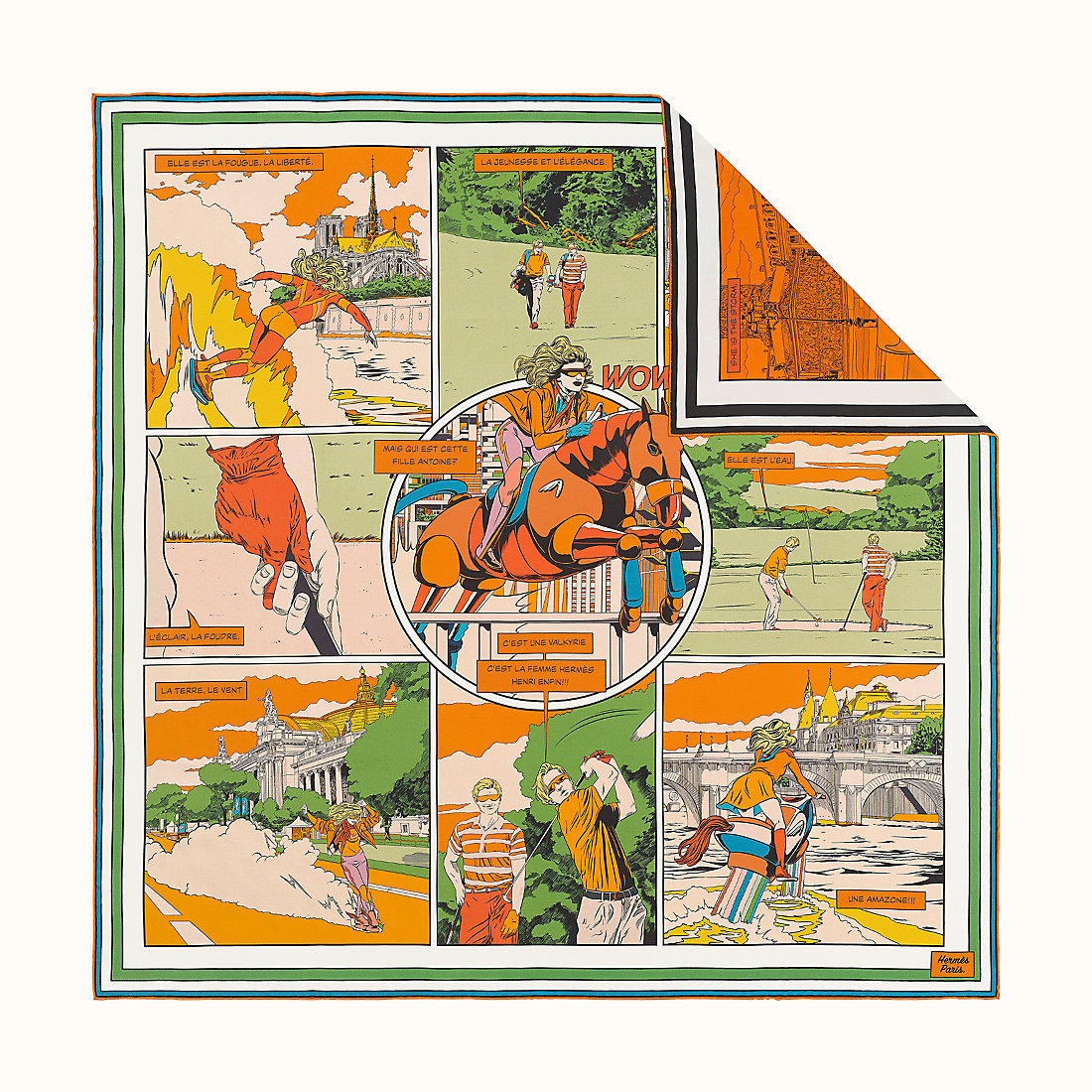 HERMES Wow Double Face Scarf 90