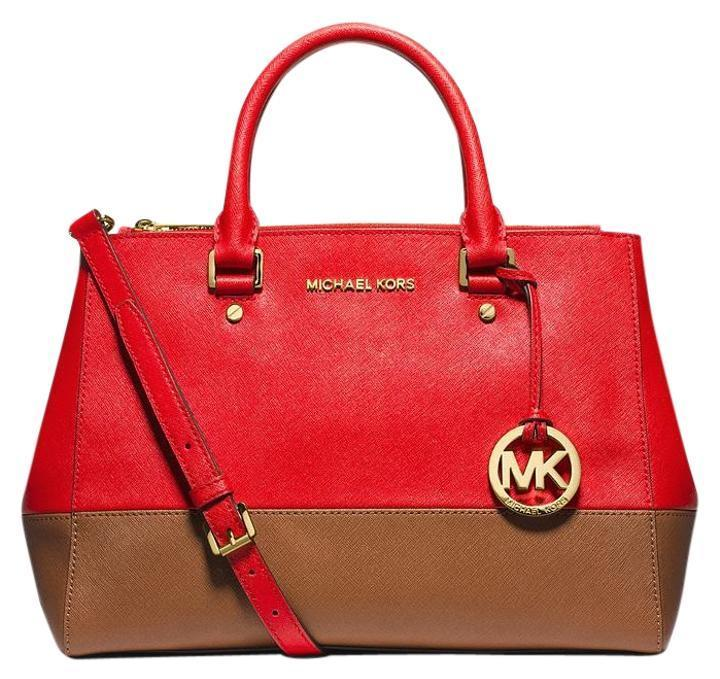 Michael Kors Medium Sutton Mandarin/Luggage Satchel