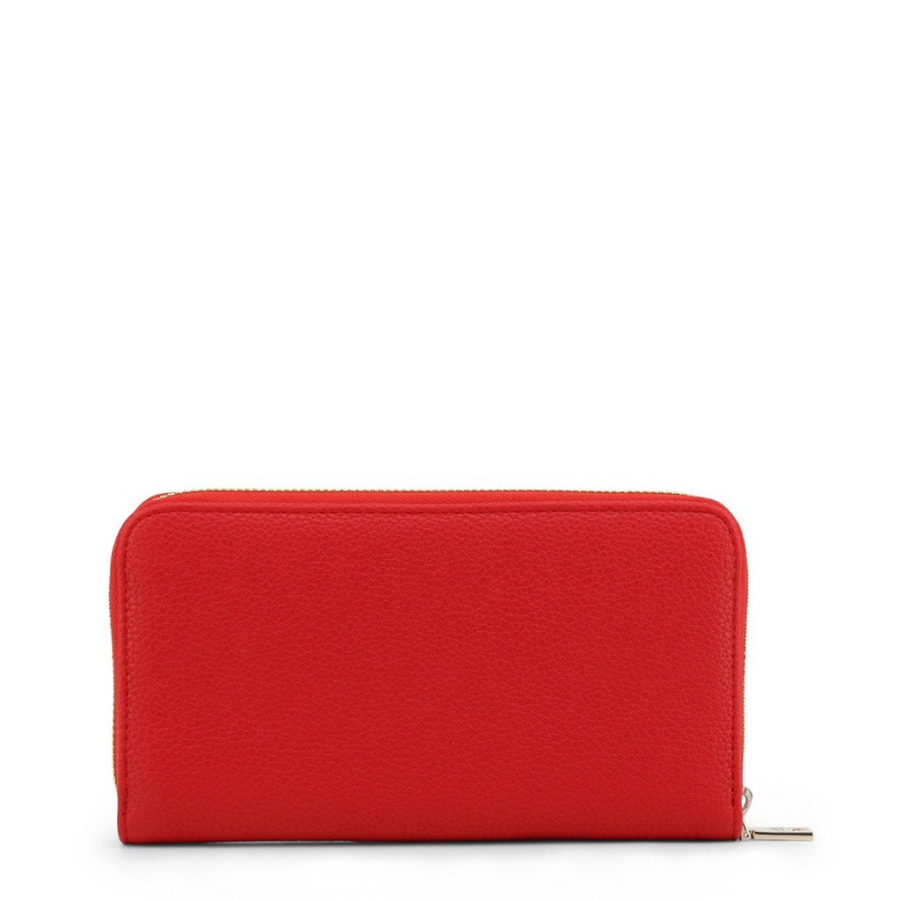 Love Moschino NEW Love Moschino Red Leather Embroidered Zip Around Wallet